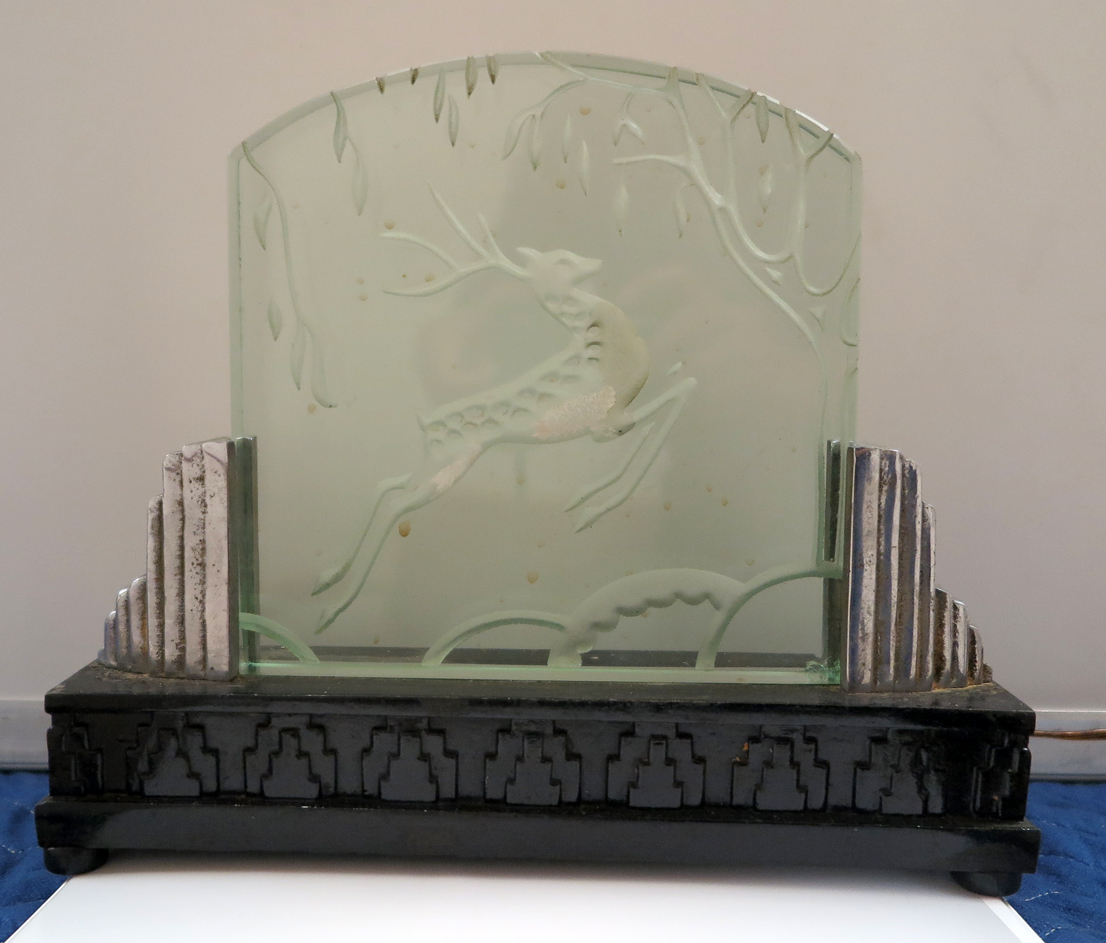 art deco luminaire satin glass with prancing deer relief modernism. Black Bedroom Furniture Sets. Home Design Ideas