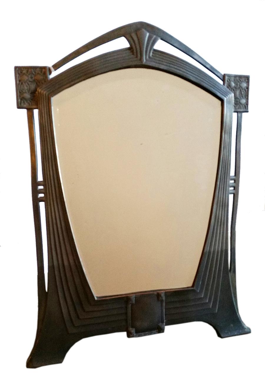 Art Nouveau Jugendstijl Pewter Mirror Modernism