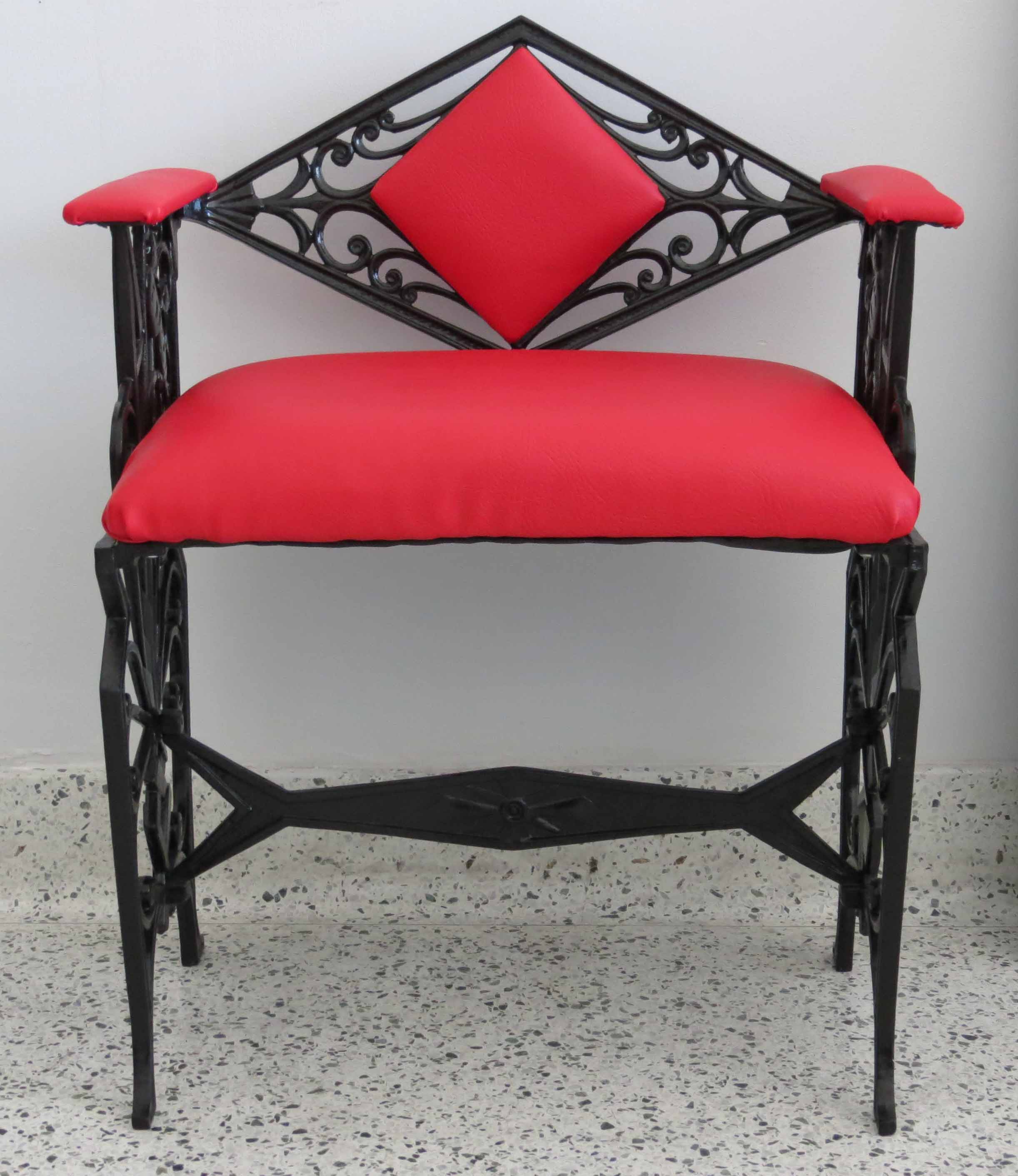 American Art Deco Furniture Cast Iron Bench Seat Modernism