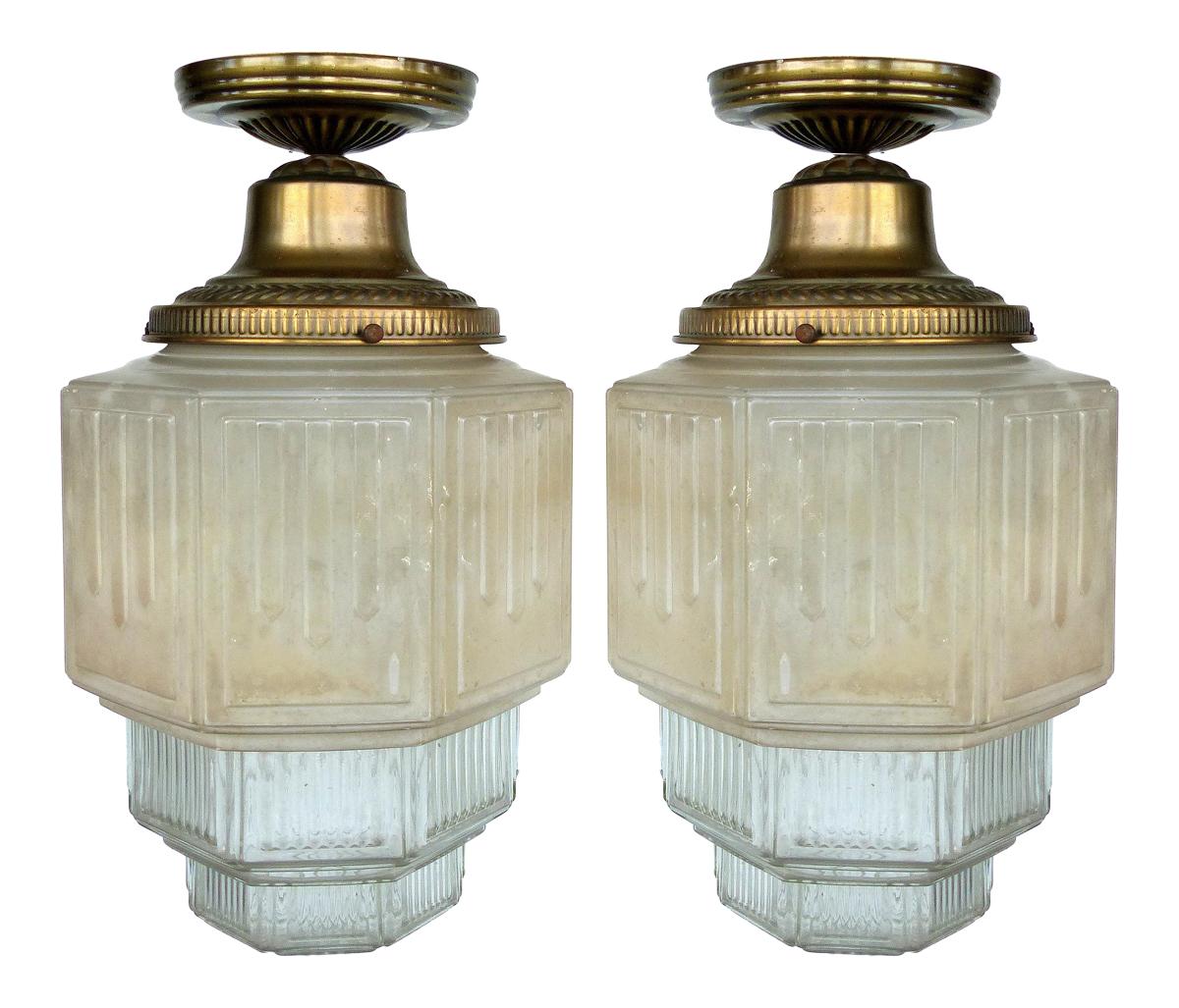 Art Deco Glass Flush Mount Ceiling Lights
