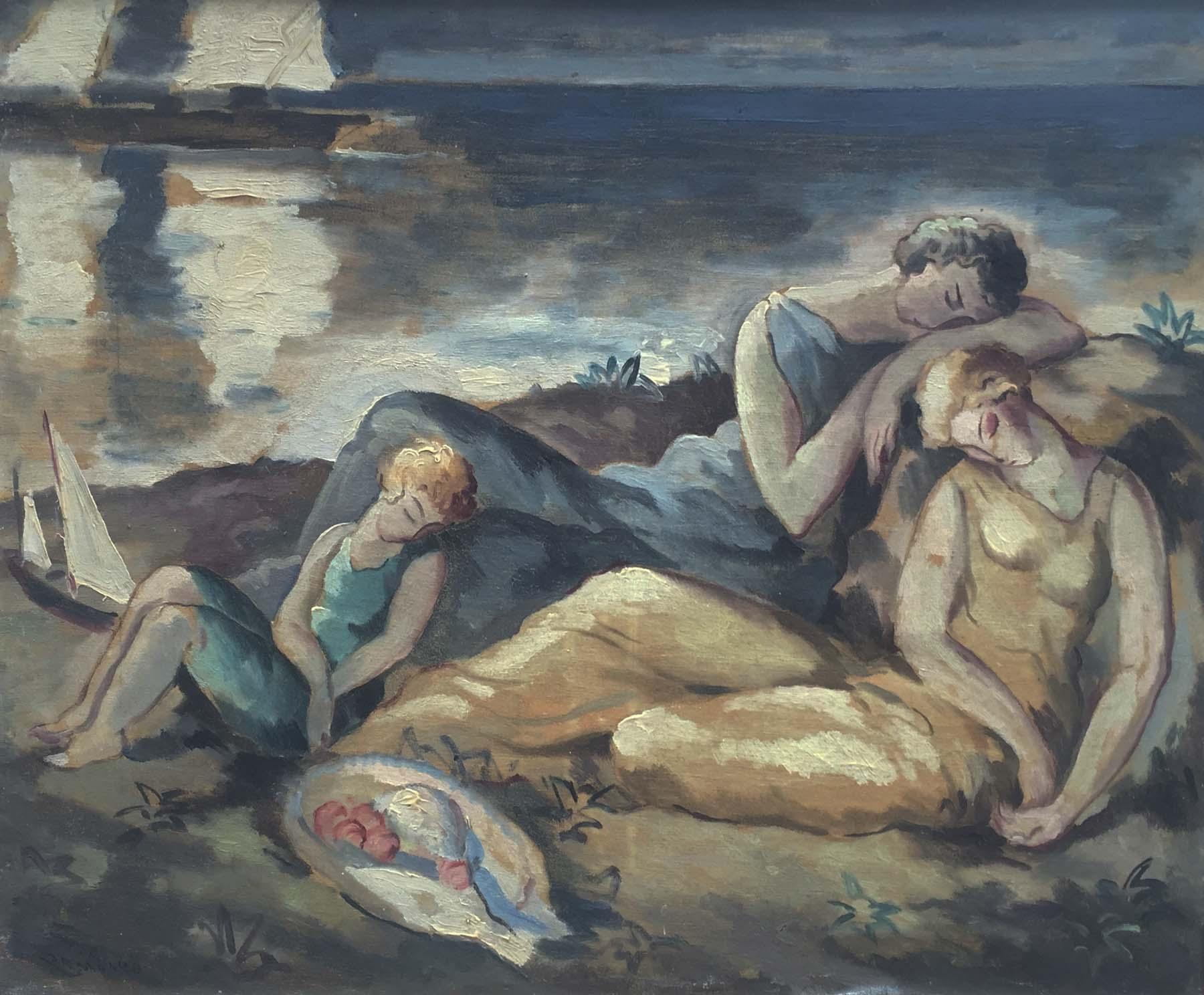 Quot Bord De Mer Quot Art Deco 1920 S Beautiful Oil On Canvas