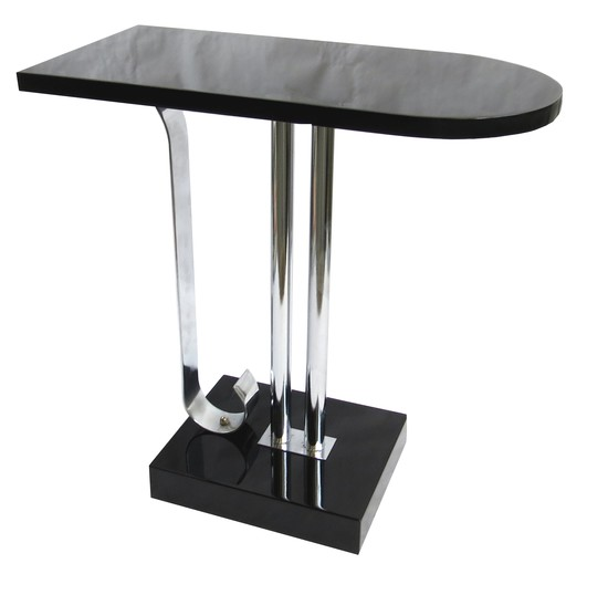 American art deco black lacquer side table by charles - Table de nuit art deco ...