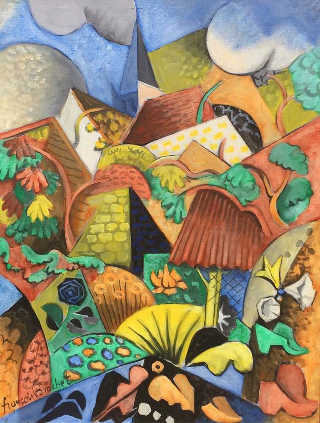 Francois Brochet French Cubist Art Deco Oil   Modernism