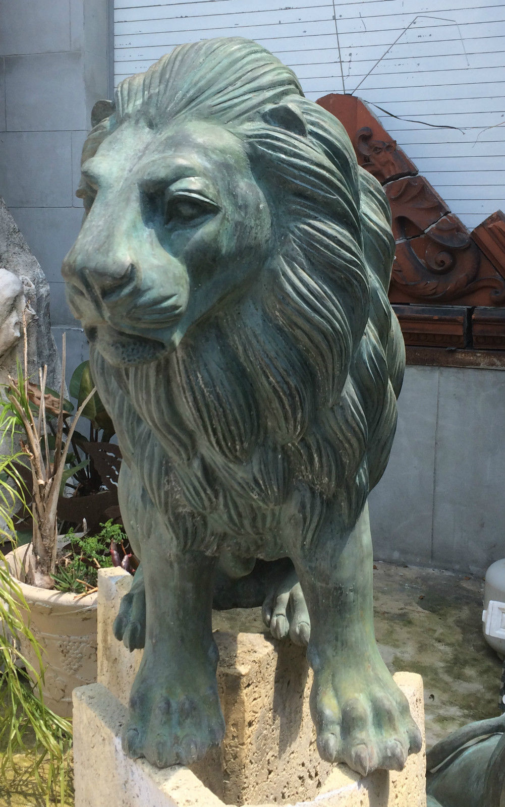 Pair Of 2 Bronze Outdoor Lion Statues