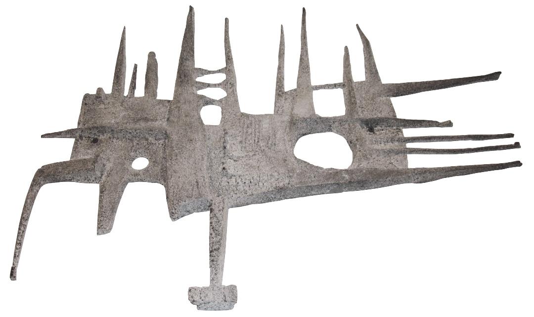 Mid Century Modern Brutalist Cast Metal Wall Sculpture | Modernism