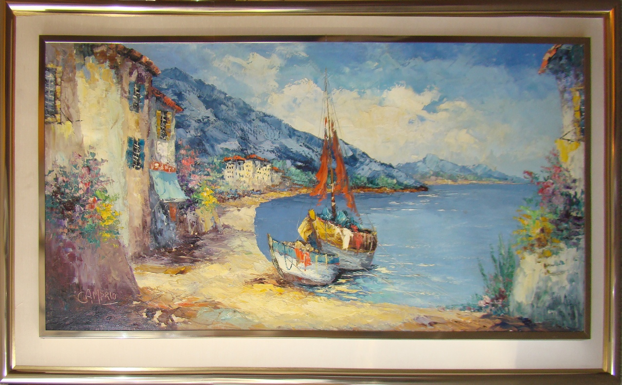 Mid Century Modern Oil Painting Of A Landed Boat By