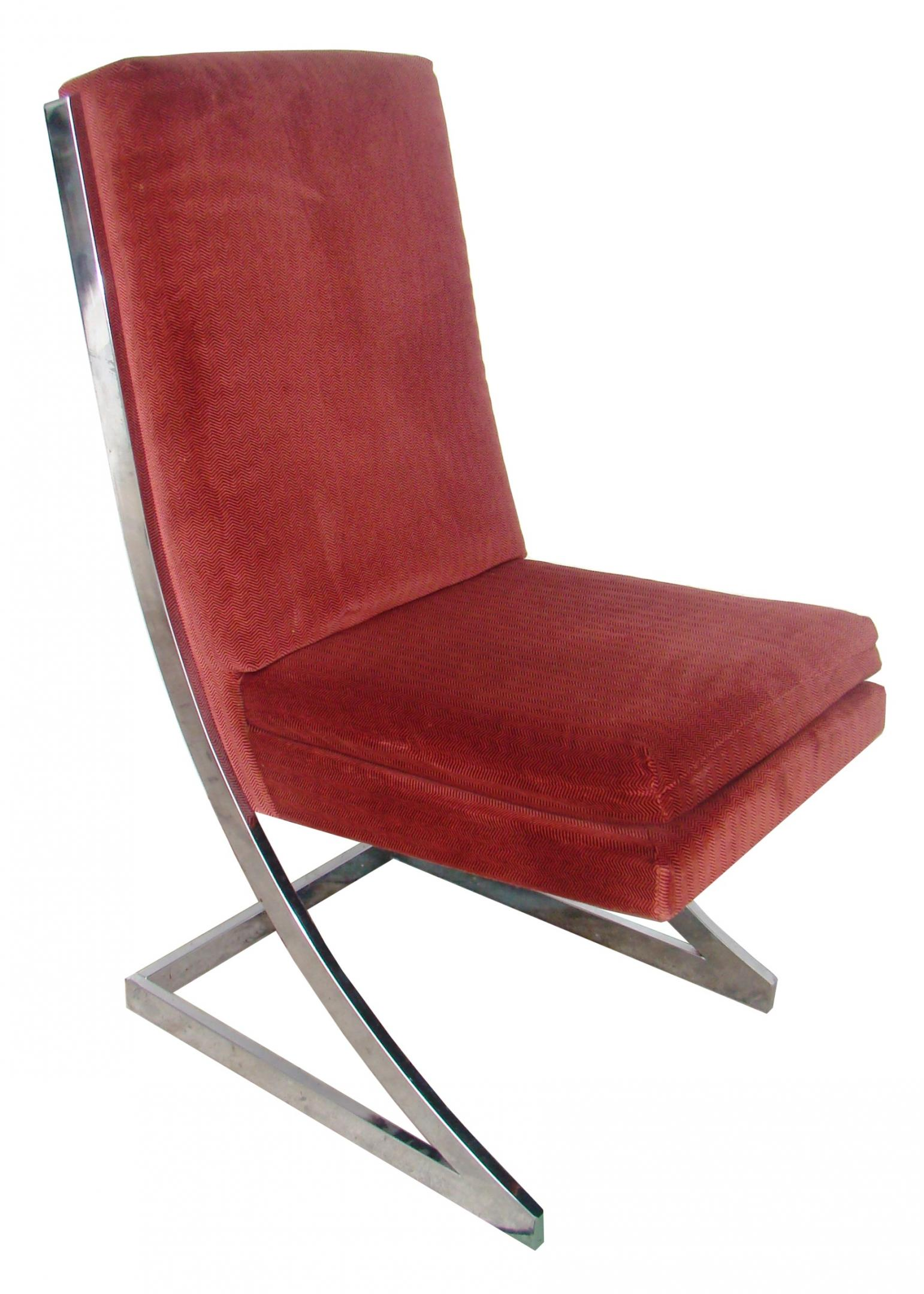Set of 4 mid century modern velour and chrome dining for Modern chrome dining chairs