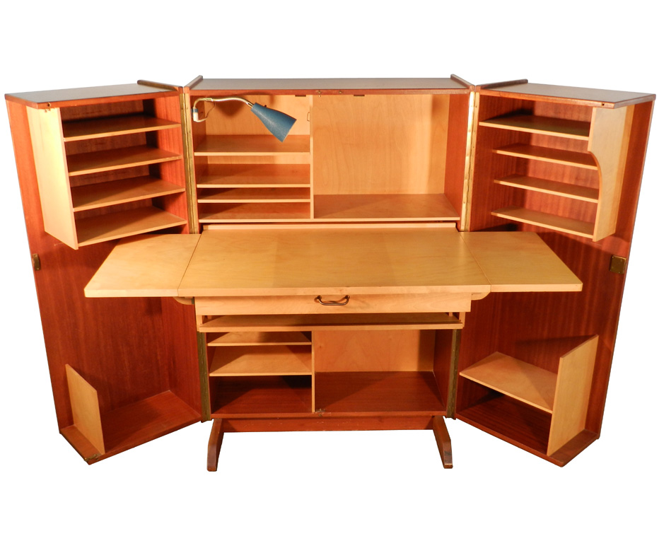 Peachy Teak And Sycamore Compact Home Office Desk And Storage Modernism Largest Home Design Picture Inspirations Pitcheantrous