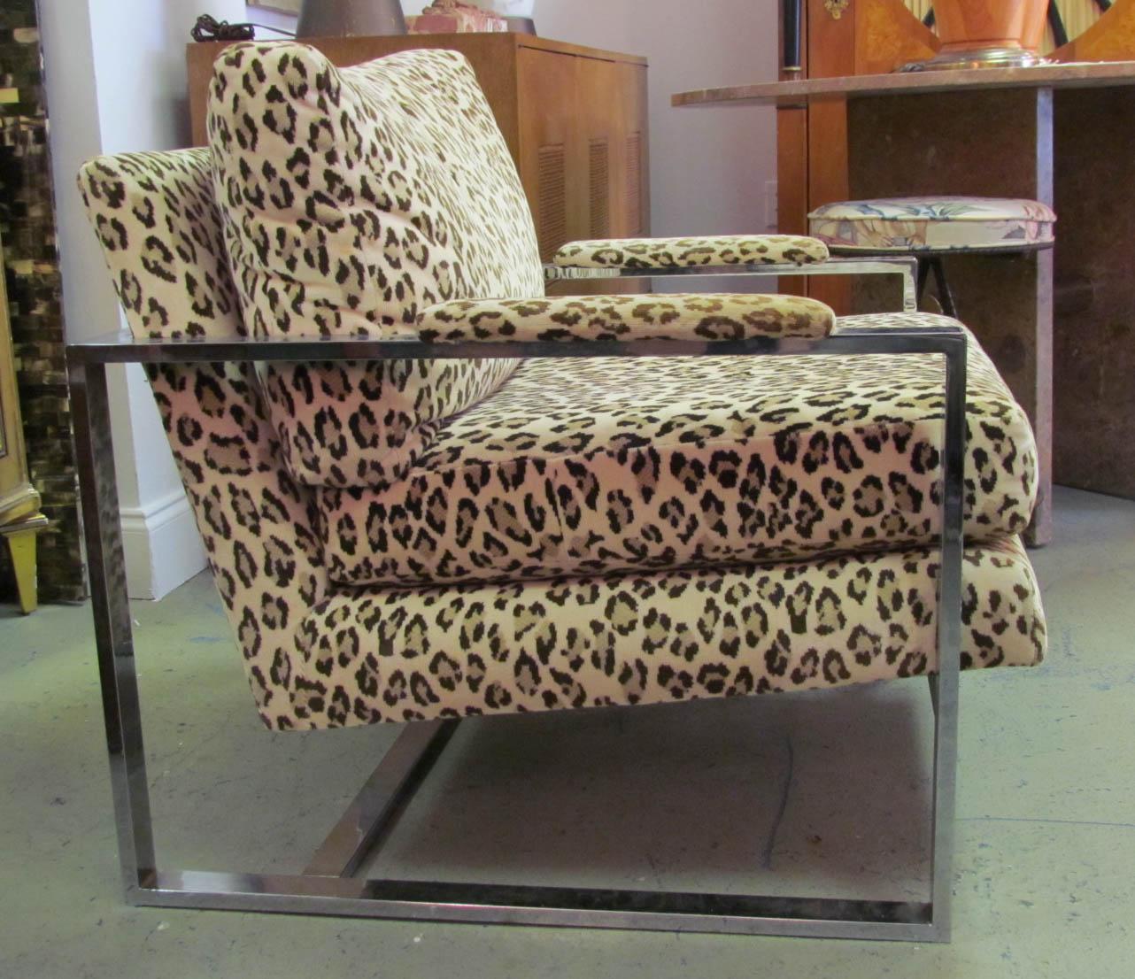 A 1970 S Milo Baughman Leopard Print And Chrome Lounge Chair