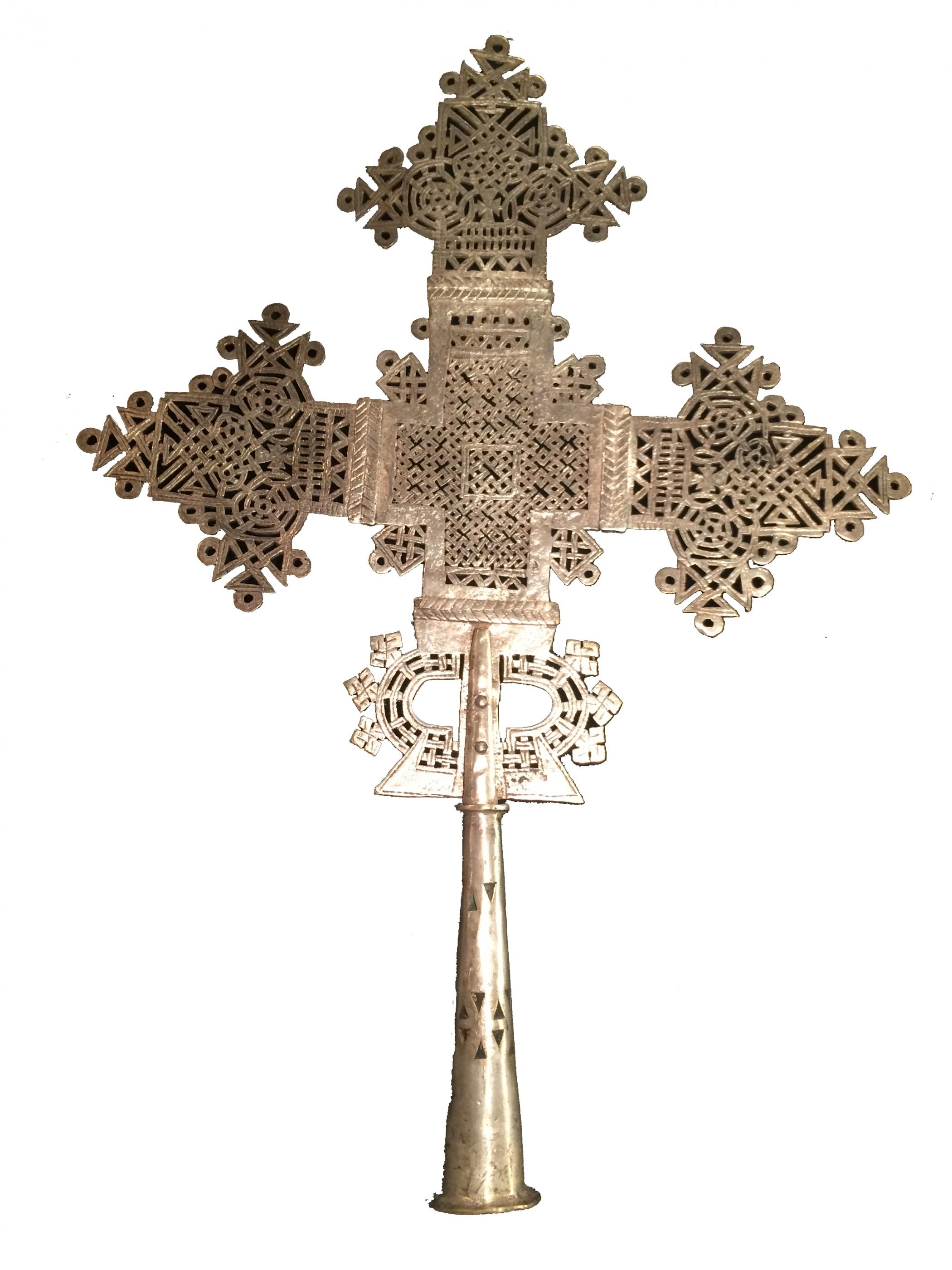 Hand Crafted Nickel Plated Bronze East Ethiopia Cross