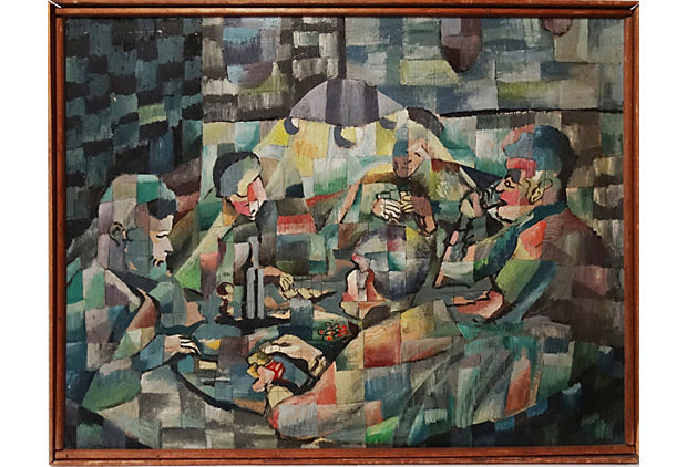 Mid Century Cubist Oil Painting Of A Backroom Poker Game