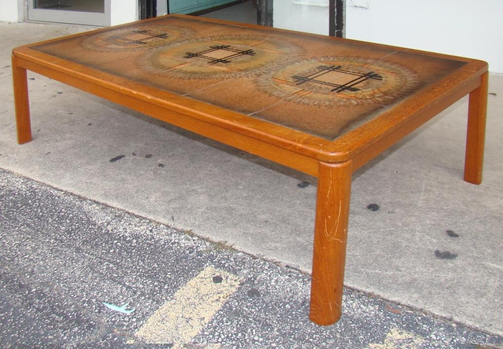 Danish modern tile top coffee table modernism for Tile coffee table