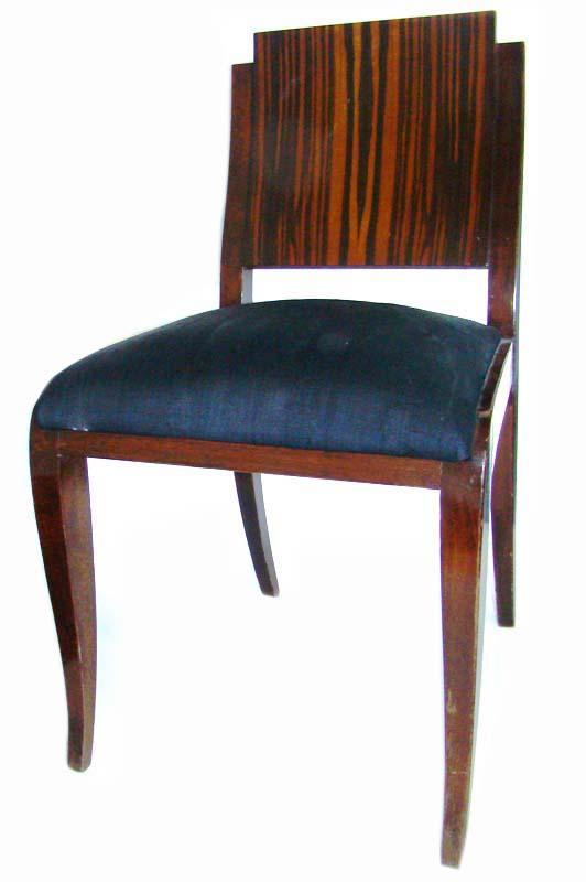 Set Of 6 Elegant French Art Deco Macassar Dining Chairs