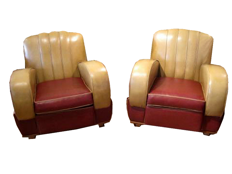 Original Period 1930 S Art Deco Pair Of Club Chairs