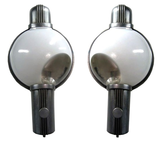 Pair Henry Dreyfuss American Art Deco Train Light Sconces ... Henry Dreyfuss Train