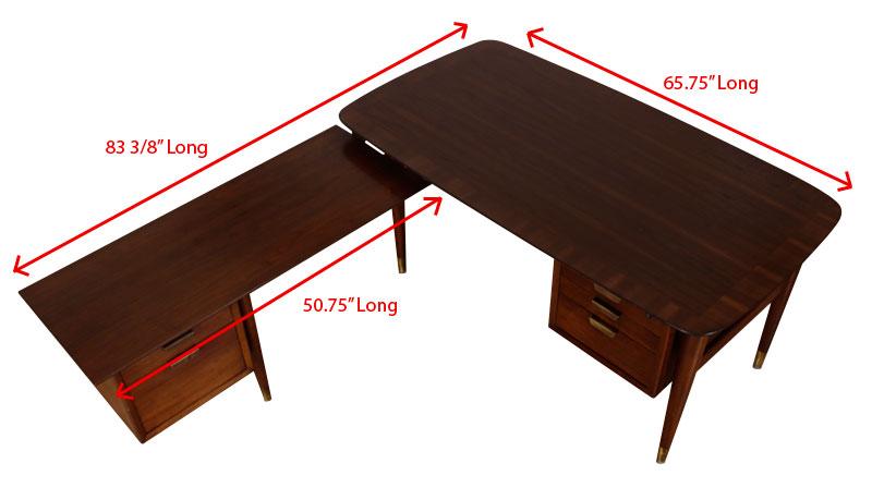 Mid Century Modern L Shaped Executive Desk Modernism