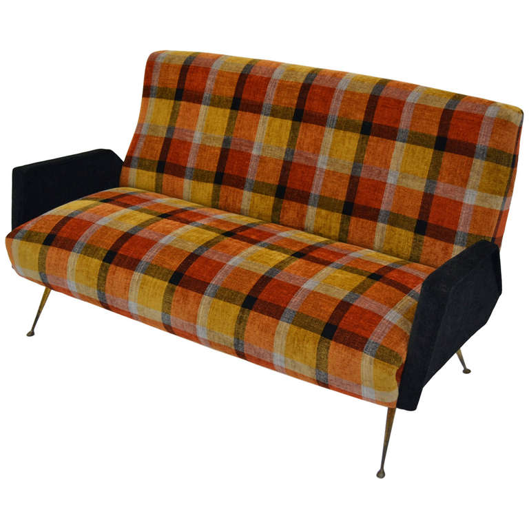 Italian Fifties Design Sofa With Plaid Tartan Fabric