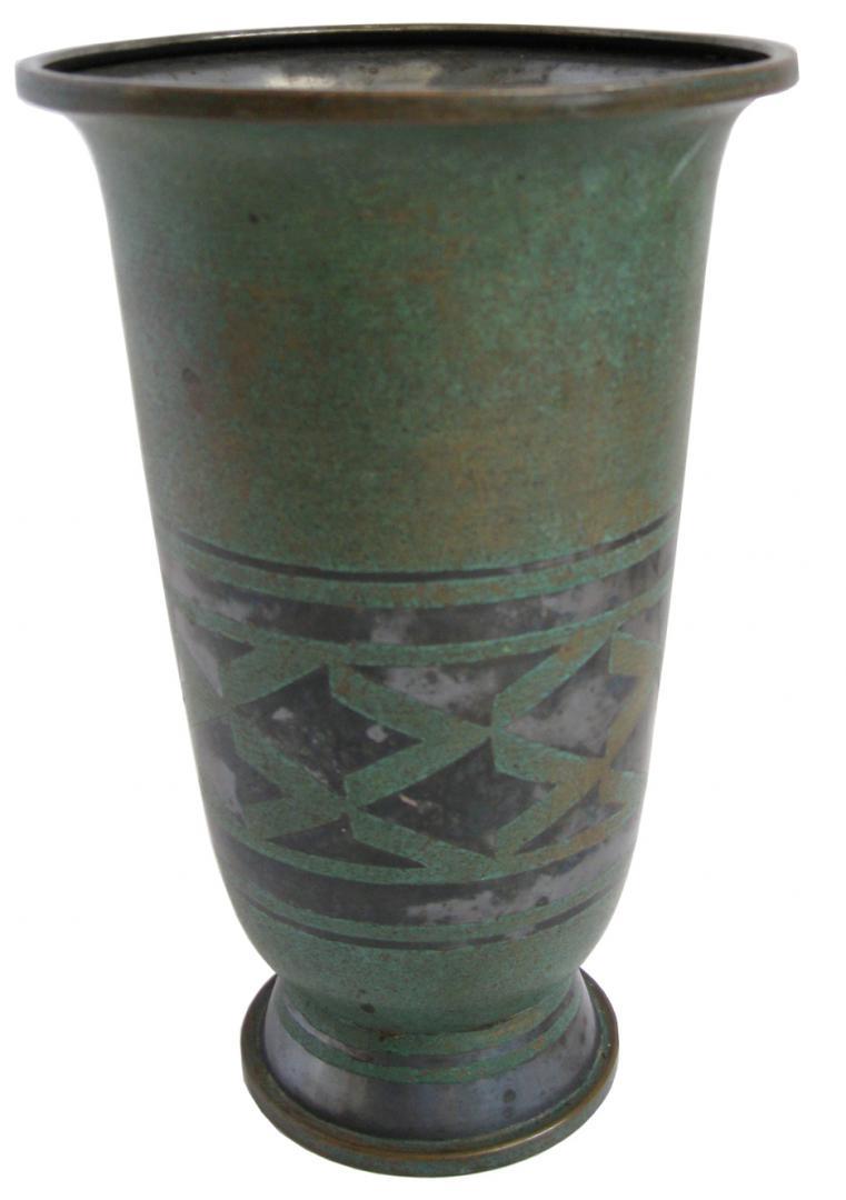 French art deco dinanderie vase by luc lanel modernism - Branche deco vase ...