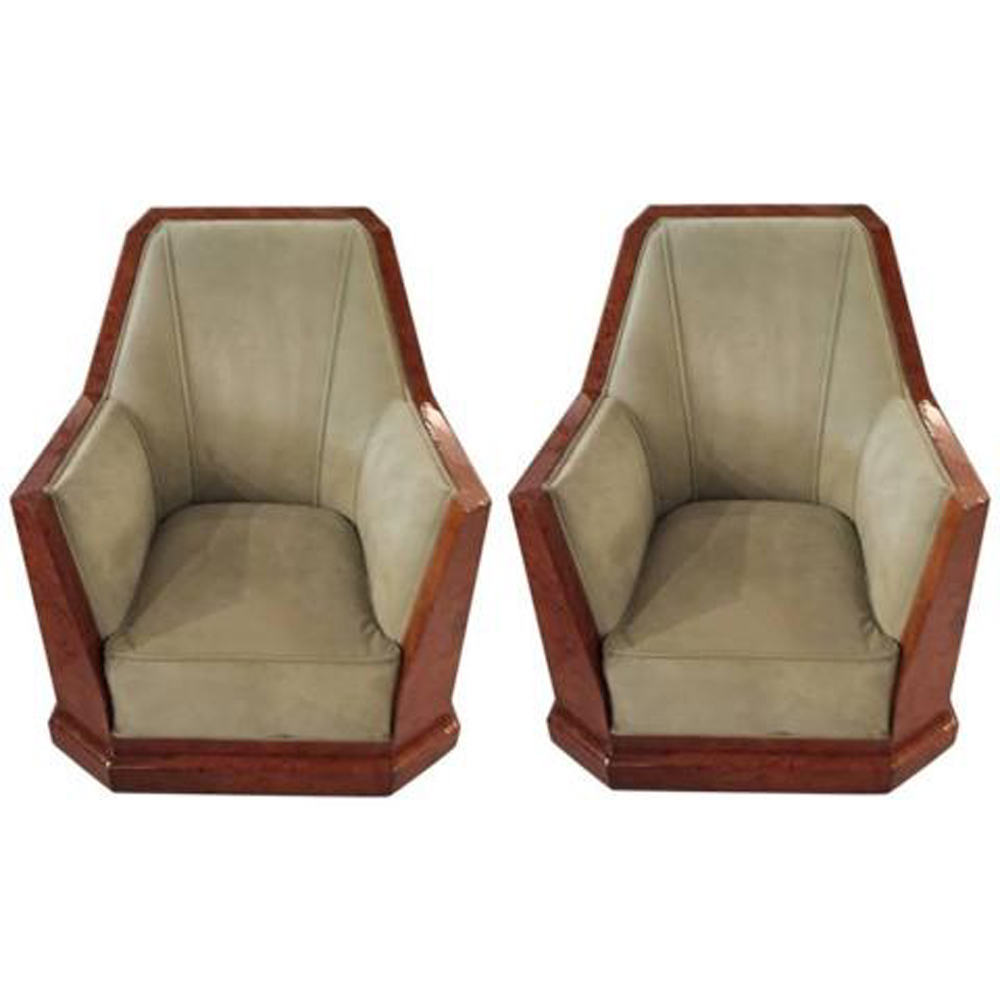 Beau Pair Of French Art Deco Club Chairs In Dominique Style