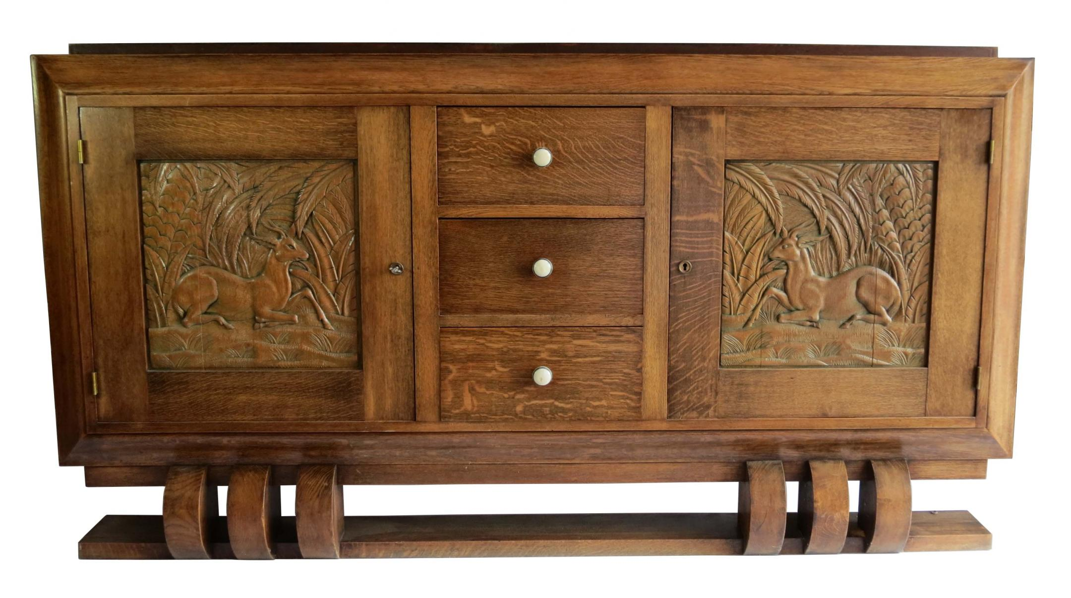 dudouyt french art deco sideboard with carved biches. Black Bedroom Furniture Sets. Home Design Ideas