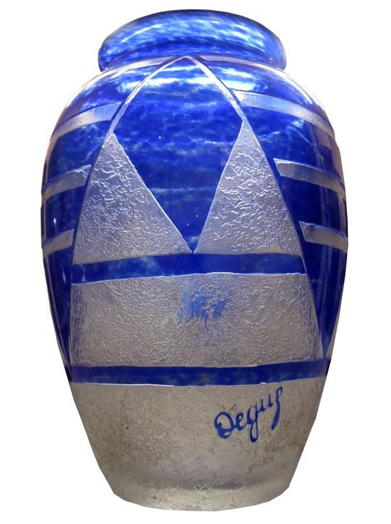 Degue French Art Deco Blue Cameo Glass Vase Modernism