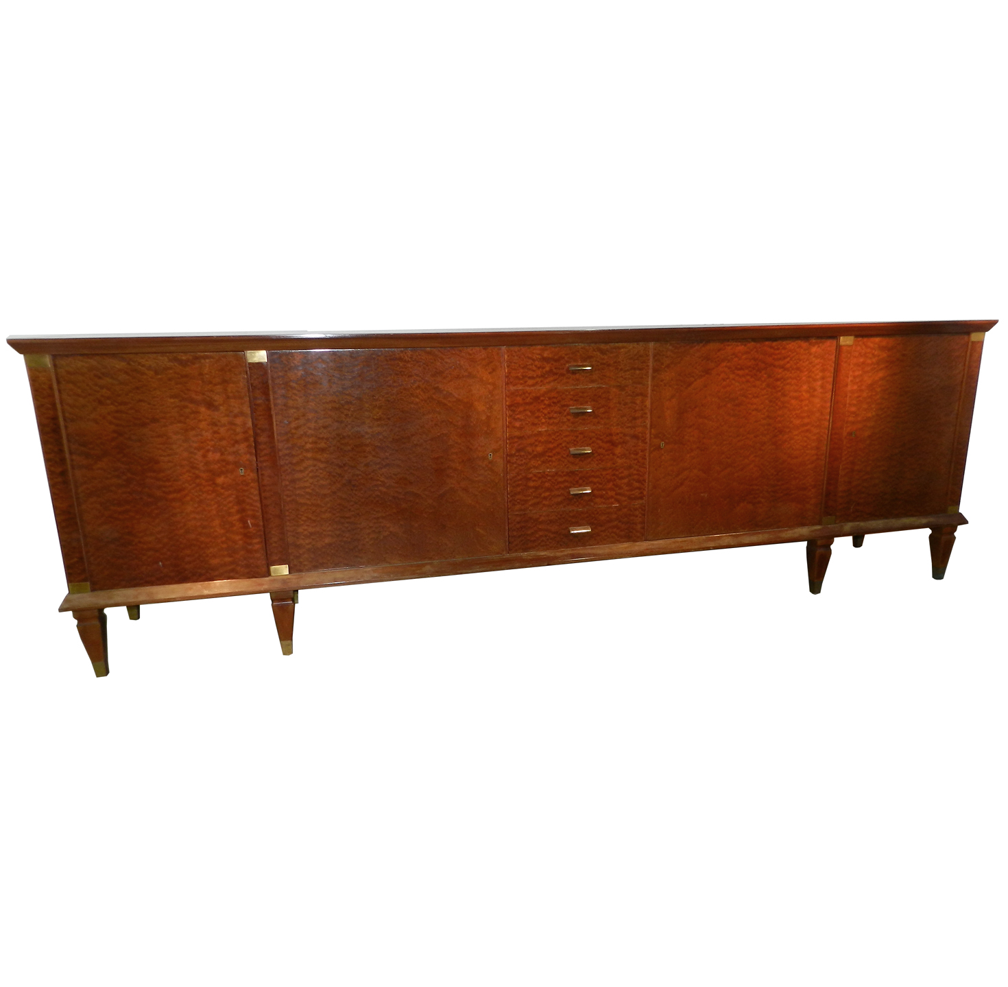 very long art deco burled veneers sideboard buffet modernism. Black Bedroom Furniture Sets. Home Design Ideas
