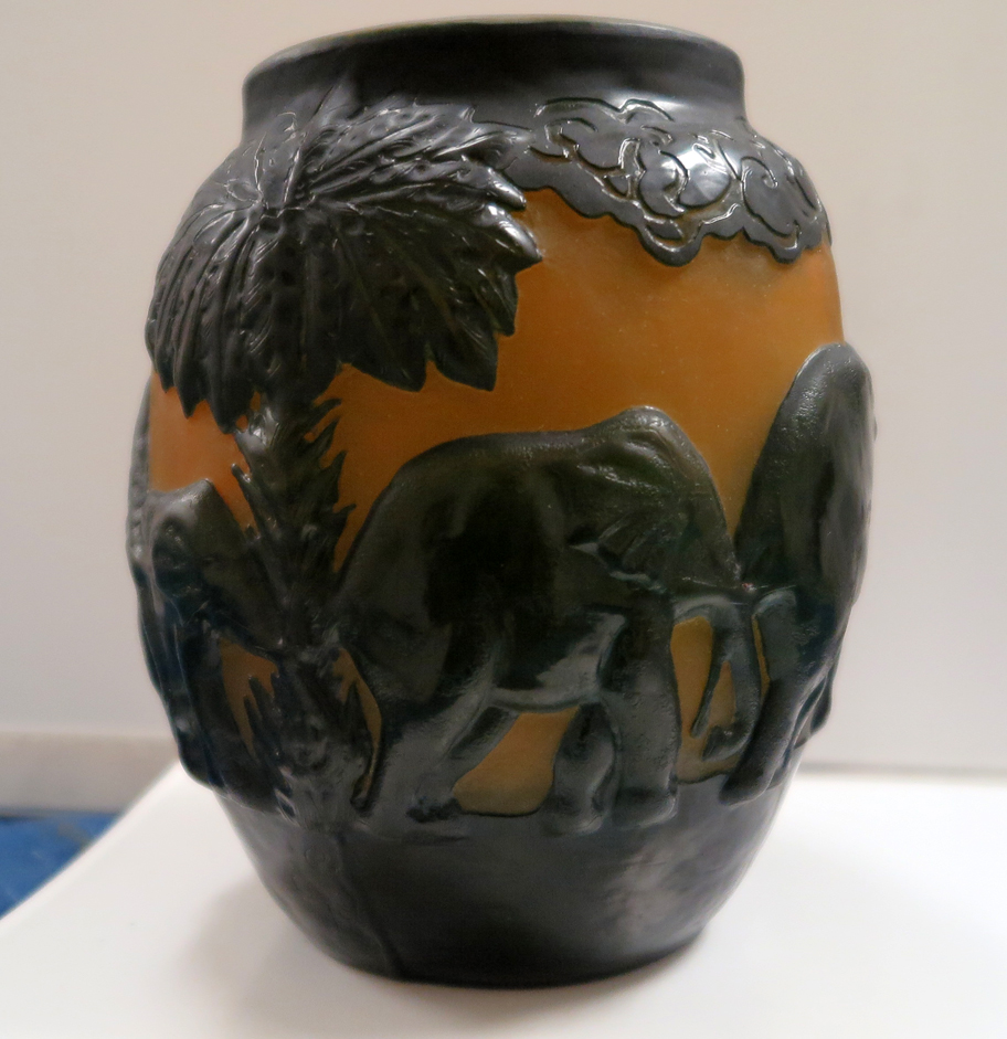 Mold Blown And Acid Etched Cameo Glass Elephant Vase Modernism