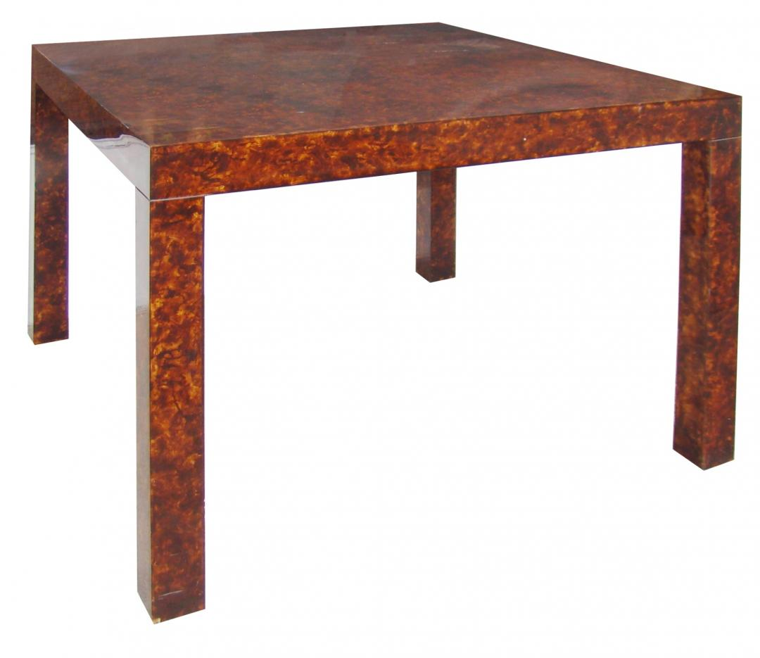 Mid Century Modern Faux Tortoise Parsons Game Table