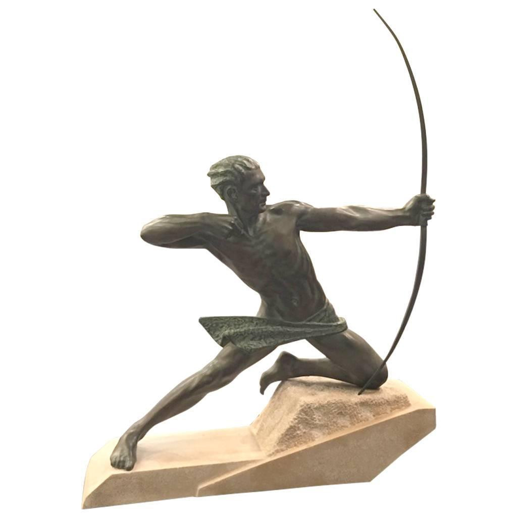 French Art Deco Spartiate Archer Bronze Le Verrier