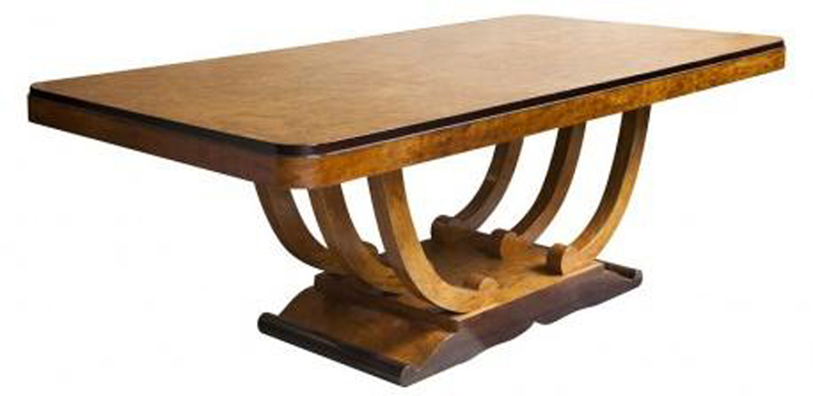 French Art Deco Burlwood U Base Dining Table For Ten | Modernism