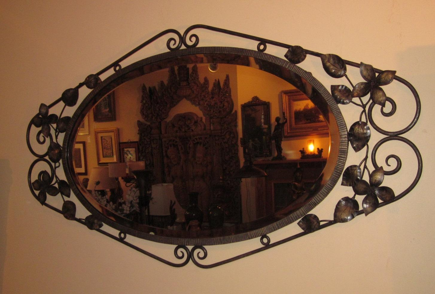 French Art Deco Wrought Iron Fer Forge Wall Mirror