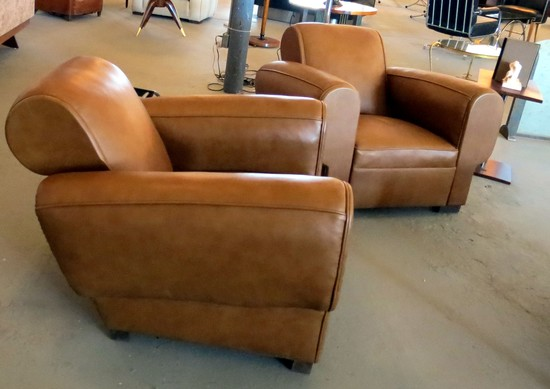 pair of 1930u0027s french art deco leather club chairs - Leather Club Chairs