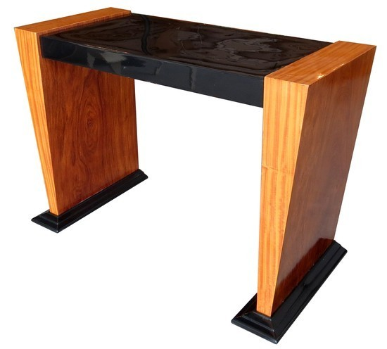 French Art Deco Black Lacquer And Satinwood Console Table