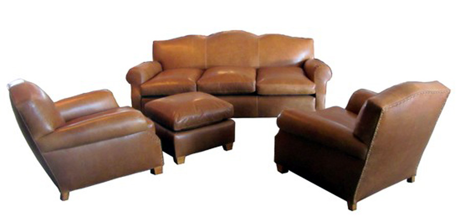 french art deco four piece leather sofa and club chair set modernism