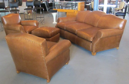 French Art Deco Four Piece Leather Sofa And Club Chair Set