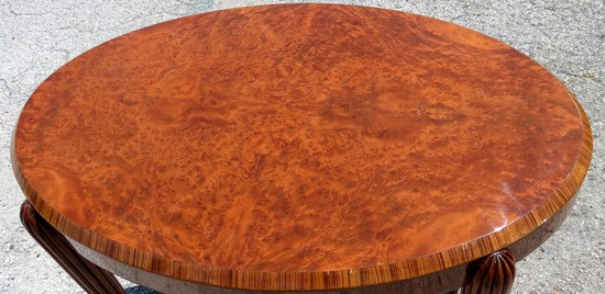 French Art Deco Occasional Or Tea Table With Burl Wood Top
