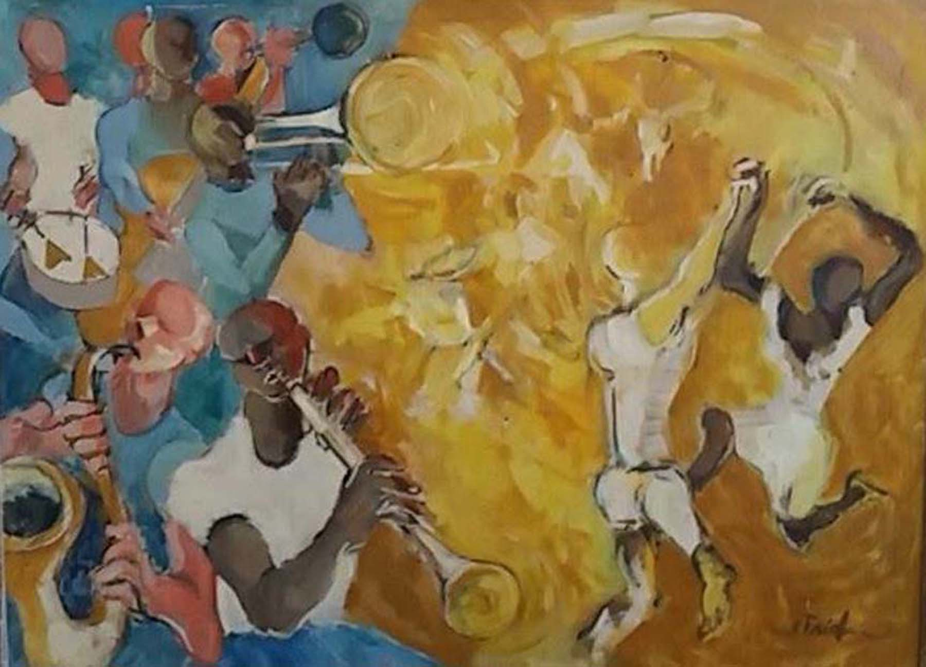 Emil Friedman American Jazz Session Oil 1950s Painting