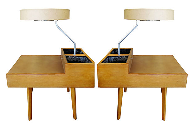 George nelson lighted side tables with planters pair modernism george nelson lighted side tables with planters pair aloadofball Image collections