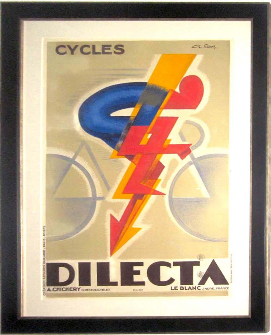 Art Deco Posters: French Art Deco Cycles Dilecta Poster By Georges Favre