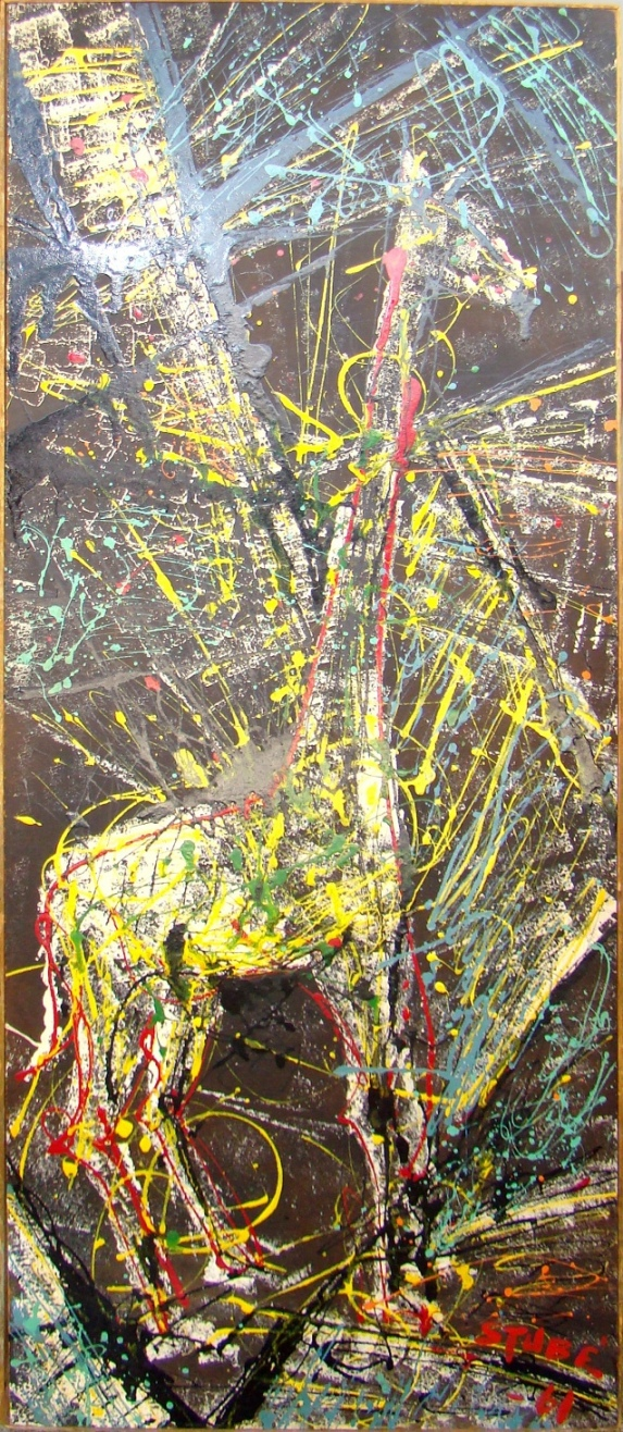 Mid Century Modern Abstract Splatter Paint Giraffe By