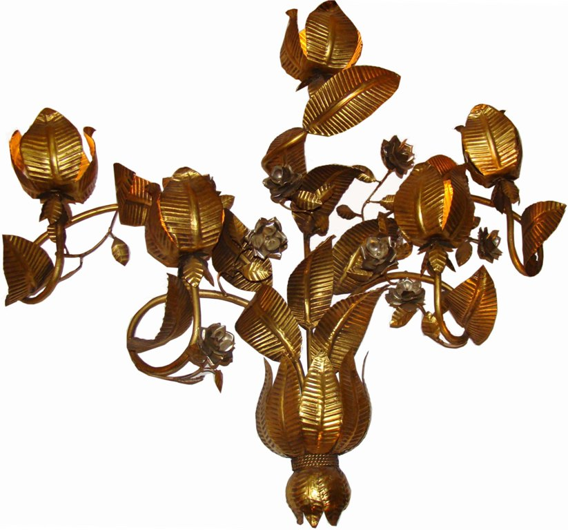 Large 1950 S Modern Sculptural Fl Wall Sconce In Gold
