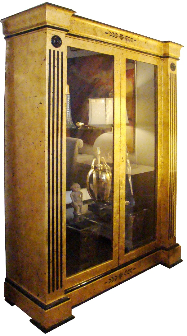 Striking Large Gold Leaf And Black Lacquered Display Cabinet ...