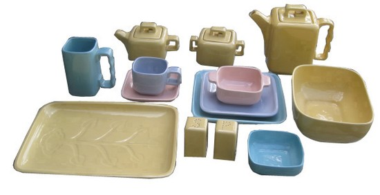Cubistic Design Luncheon Set By Gonder Pottery Modernism