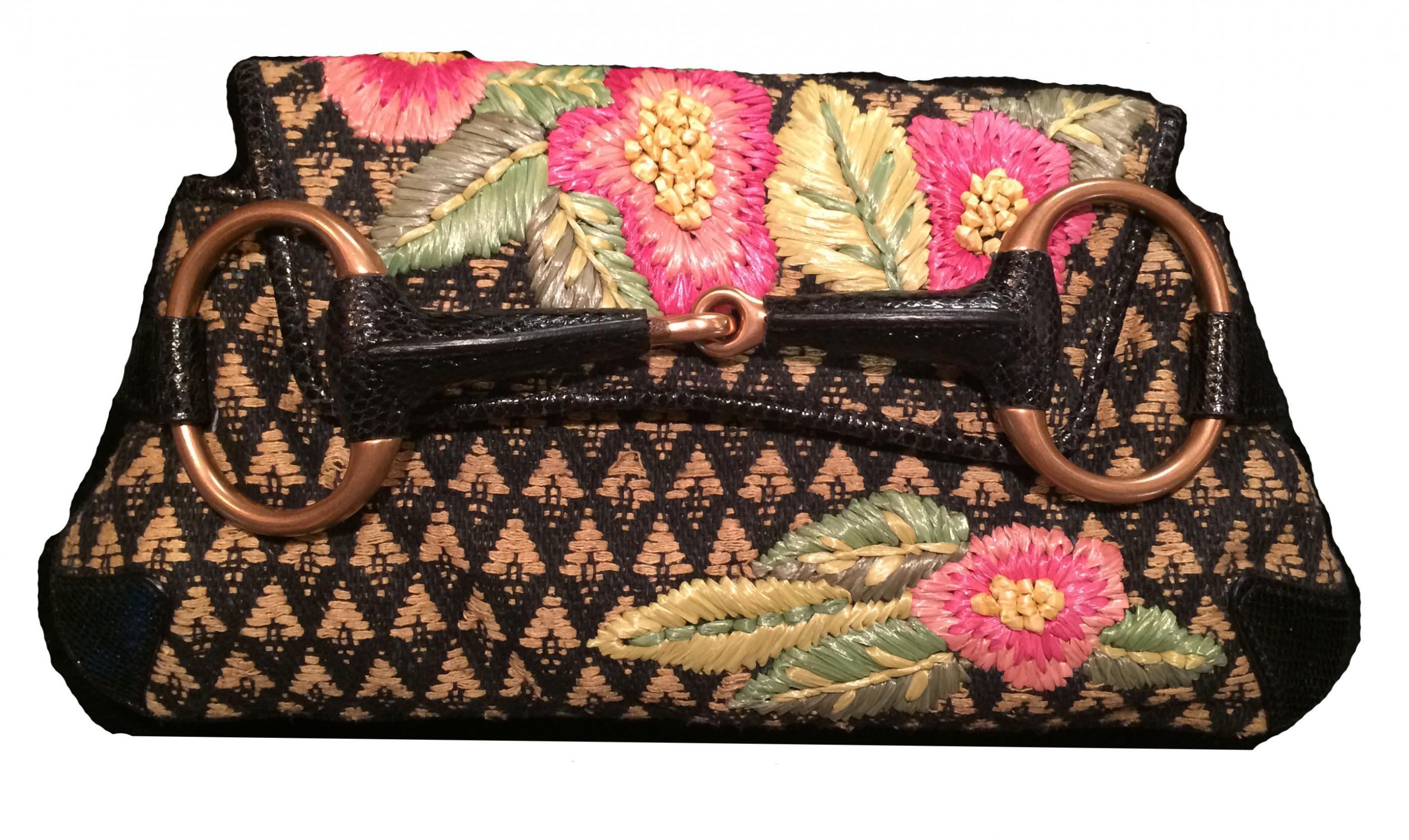 Gucci Embroidered Rafia Flower Horsebit Handbag Modernism