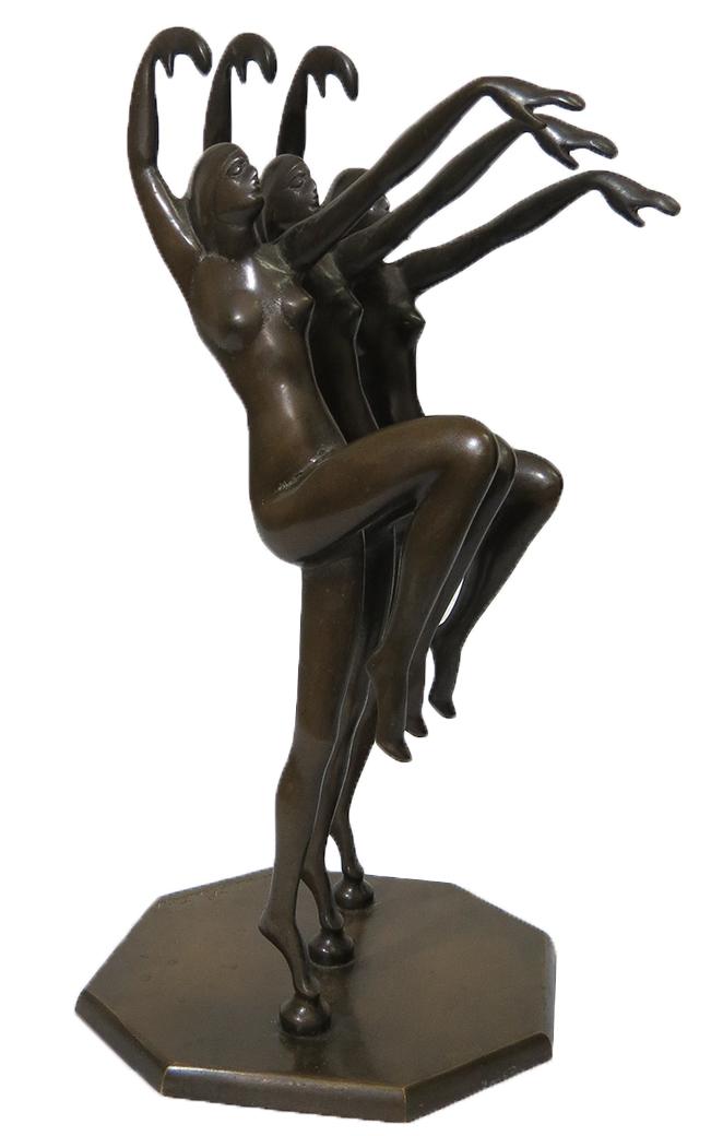 Art Deco Bronze Sculpture Of Dancers By Henri Lauter