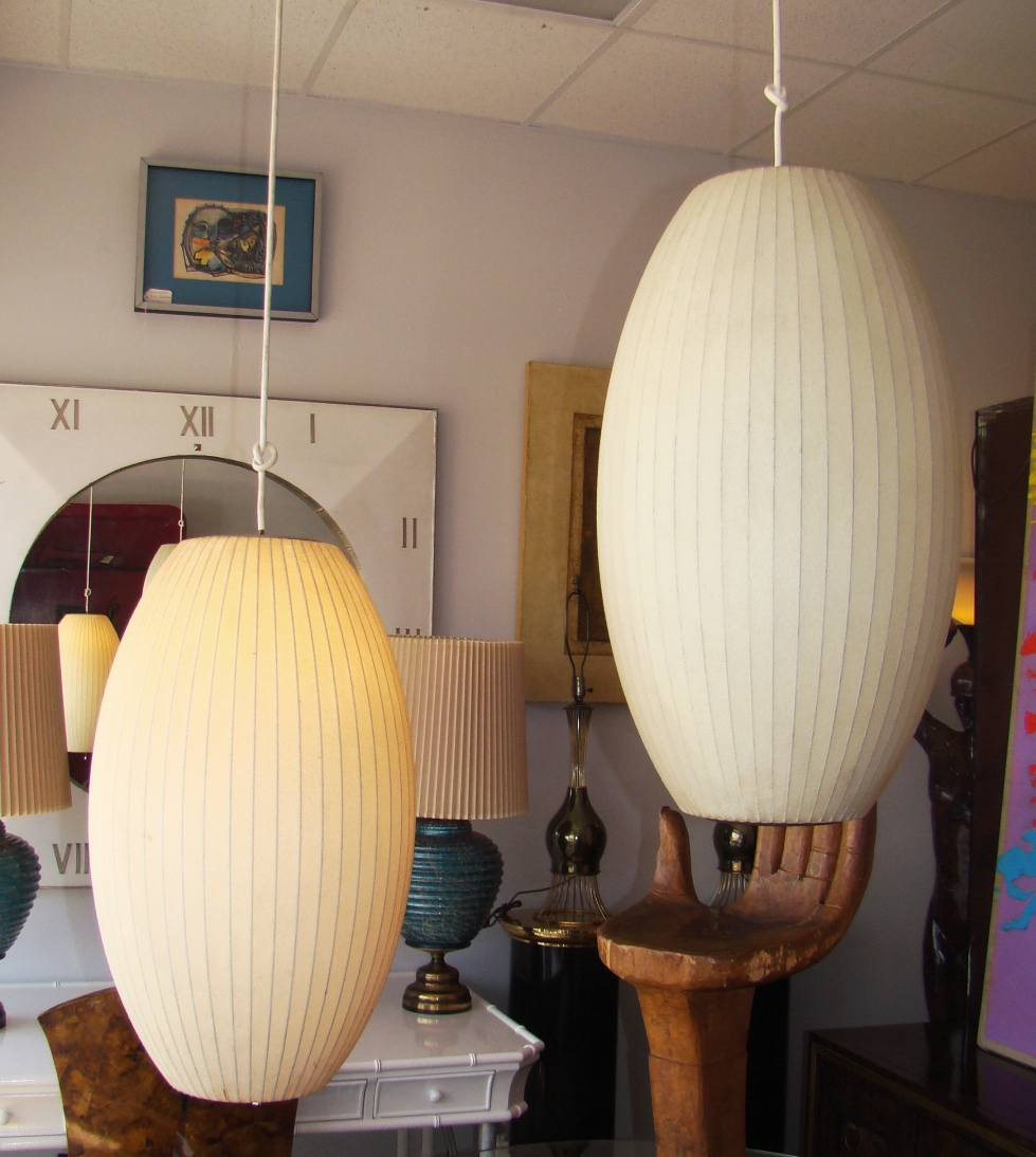 Pair Herman Miller Cigar Bubble Lamps By George Nelson