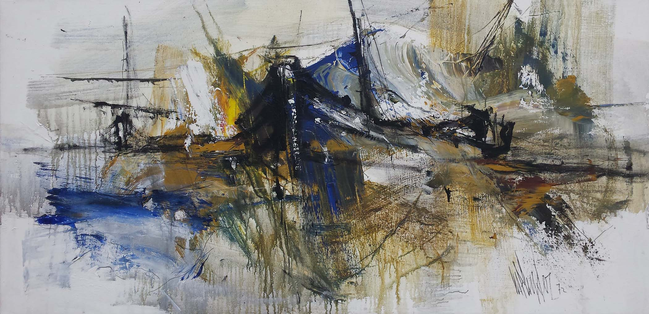 Gino Hollander Large Abstract Painting 1972 American