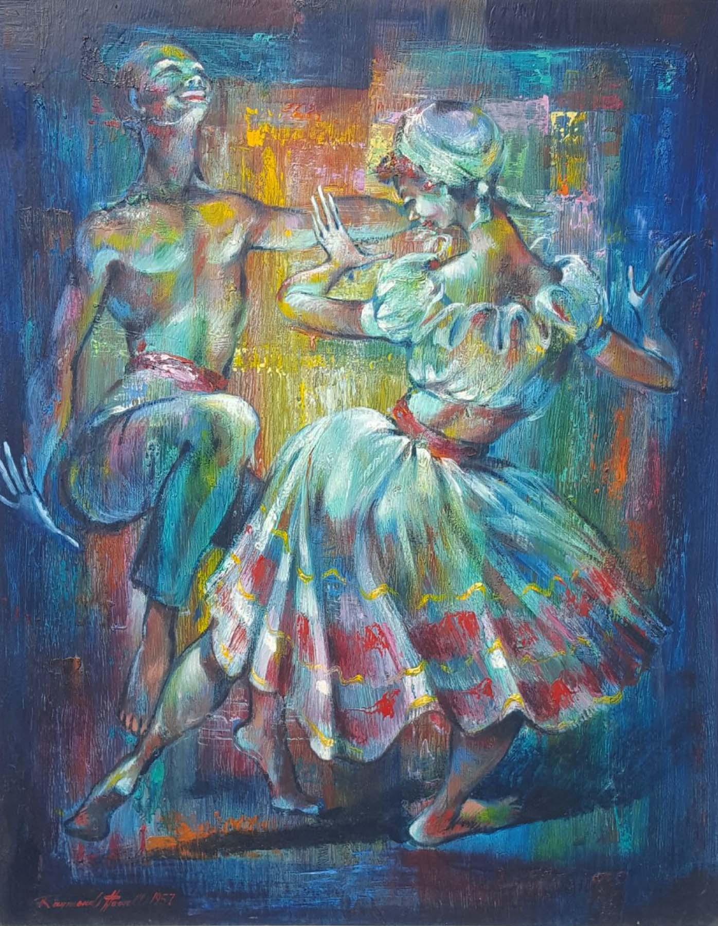Raymond Howell 1967 Oil Dancers Large Modernism