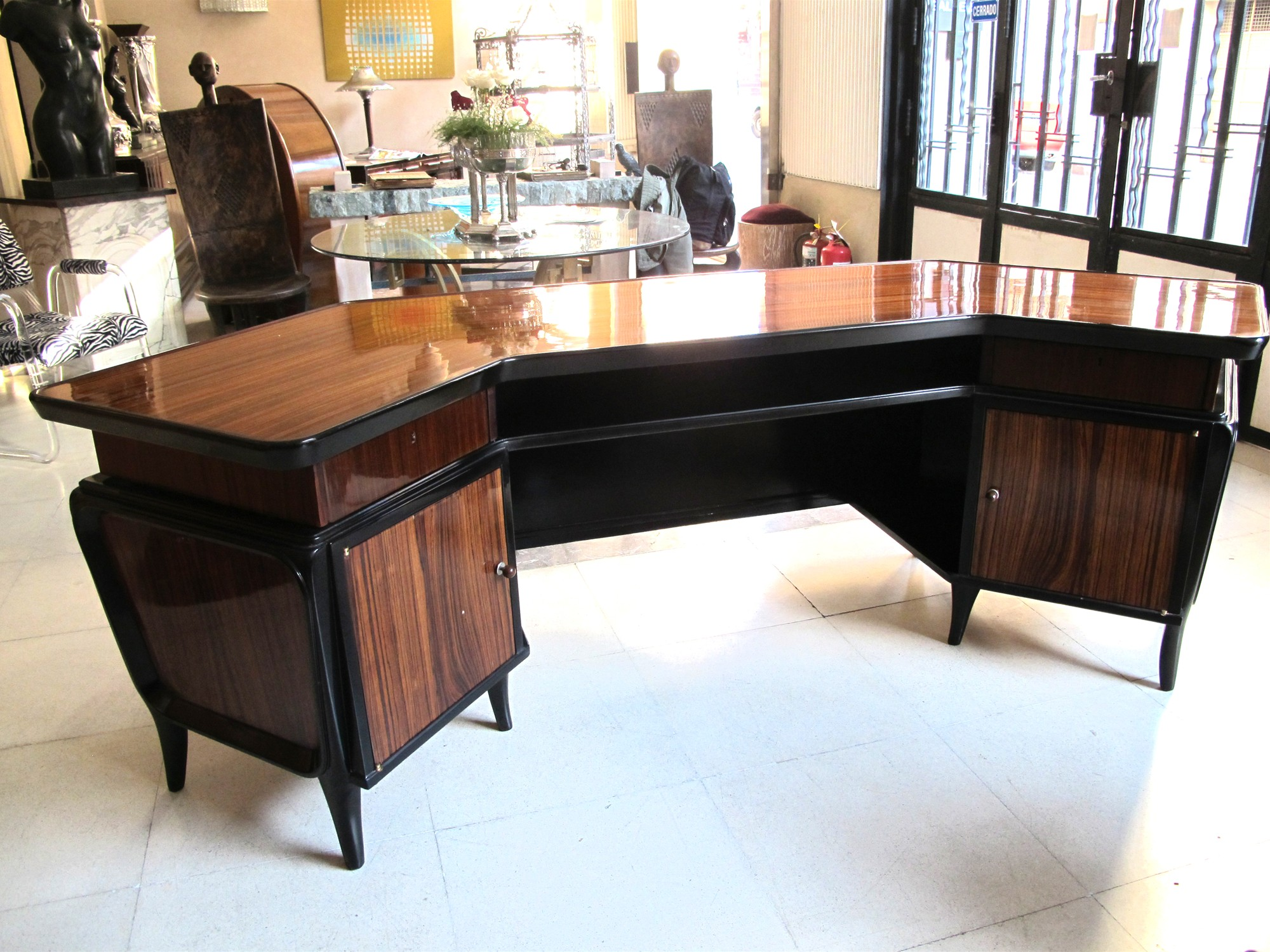 An Important Art Deco Macassar Ebony And Ebonized Wood Desk