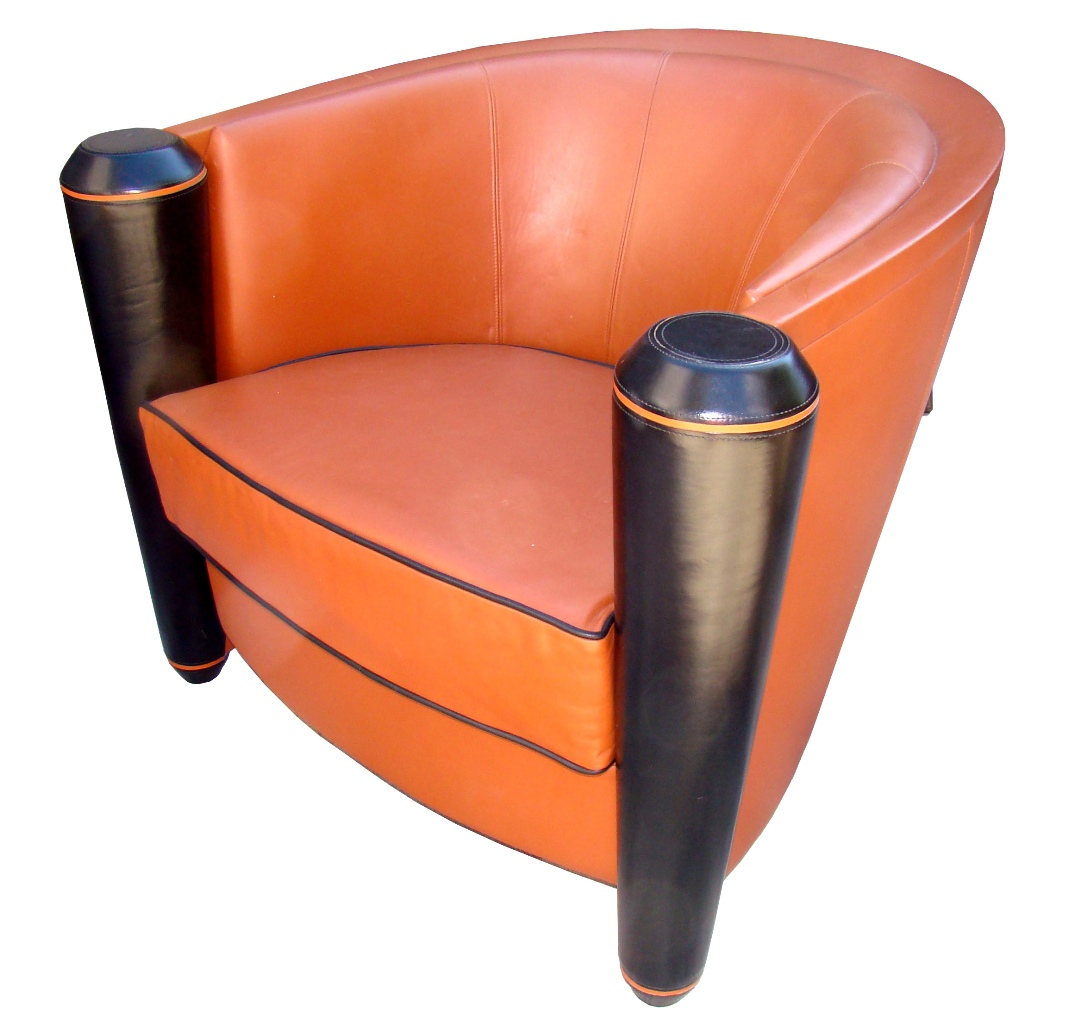 A Sculptural I4 Mariani Contemporary Leather Club Chair Modernism